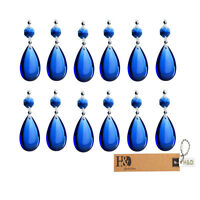 10PCS Blue TearDrop Crystal Prisms Glass Lamp Chandelier Lighting Pendant 50mm