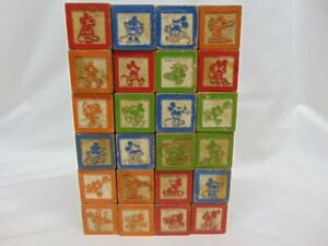 Antique Disney Engraved Mickey Mouse & Pluto the Pup & ABC's Wooden Blocks