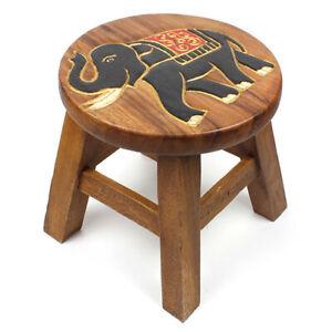 Sun Stool - Solid Wood Footstool - Handmade - Carved