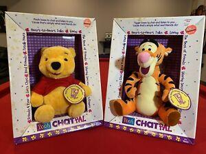 "Vintage Winnie The Pooh AND Tigger! Chat Pal Talking 10"" Plush Mattel NEW (1999)"