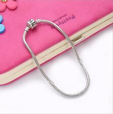 1pcs Silver Snake Chain Bracelet Fit European Charm Beads18cm