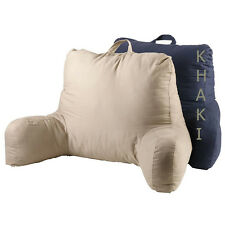Backrest Pillow With Arms Twill Back Support TV Reading Bedrest Cushion Khaki