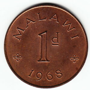 MALAWI 1 penny 1968 KM6 Bronze 2-year type KEY date TOP GRADE - NICE & VERY RARE