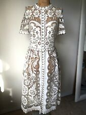 Wedding White two-tone Cut out Lace Maxi Boho Dress Sz S Dolce gabbana Style