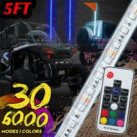 5ft 30 Patterns LED Whip Light Flagpole Lamp For Jeep ATV UTV RGB w/Flag Remote