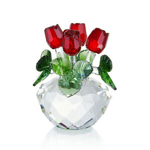 K9 Crystal Red Rose Figurine Bouquet Ornament Crystal Glass Flowers - NOYISTAR