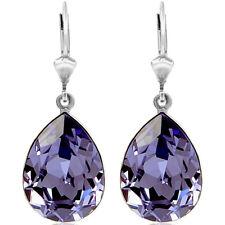 Ohrringe mit Kristallen von Swarovski® Lila Silber Topfen Damen NOBEL SCHMUCK