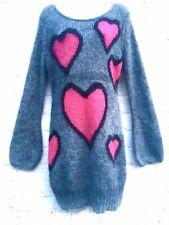 Vintage Sonia Rykiel mohair sweater dress jumper knitwear hearts grey pink UK 14