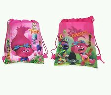 Lot of 12 Trolls Drawstring Bag Small Backpack Party Favors Goodie Gift Bag