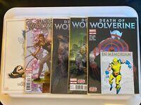 DEATH OF WOLVERINE #1-4 - 2014 Marvel- COMPLETE HIGH GRADE FOIL SET WITH PROMOS