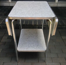 Vintage 50's  Formica Chrome Drop Leaf Shelf Cart Table