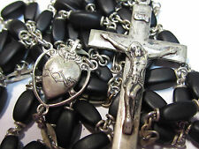 "† VINTAGE CROWN OF TORN STERLING BLACK OVAL DOUBLE CAPPED ROSARY NECKLACE 35"" †"