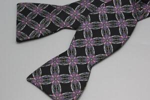 FABERGE Adjustable Silk Bow Tie. Pink w Blue Floral Medallion.