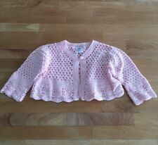 NAARTJIE Light Pink Loose Knit Crocheted Sweater w Pearl Button Sz 6-12 Mo EUC