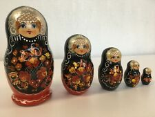 Russian Doll Hand Painted Silver Black Red Vintage Kitsch