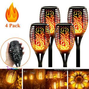 4PCS LED Flame Solar Torch Light Waterproof Flickering Dancing Path Garden Lamp