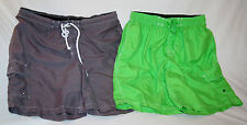 2 PCS CHAMPION & MERONA SWIM TRUNKS BOARD SHORTS - GRAY & GREEN  Sz L