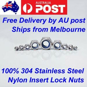 M3 M4 M5 M6 M8 M10 M12 Stainless Steel 304 Hex Nyloc Nut Nylon Insert Lock Nuts