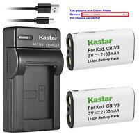Kastar Battery Slim Charger for Original Kodak CR-V3 CR-V3L Olympus LB-01 LB01E