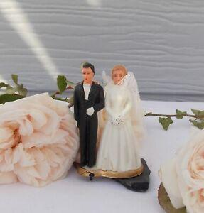 ANCIENNE FIGURINE DE MARIES GATEAU MARIAGE ANNEE 50