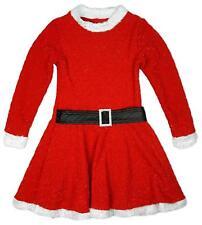 Brillo De Niña ELFO Papá Noel Navidad Vestido Skater Con Cinturón 2-13 AÑOS