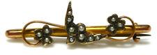 VICTORIAN NOUVEAU 9K 375 GOLD SEED PEARL BIRD FLOWER VINE BAR BROOCH PIN ENGLISH