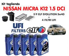 KIT TAGLIANDO NISSAN MICRA K12 1.5 DCI - ELF 5W40 5LT + 4 FILTRI UFI