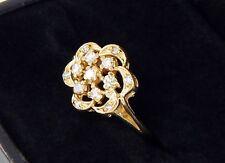 Vintage 14k Borde Filetes Diamante Anillo con Flor Set 23 Quilate Individual
