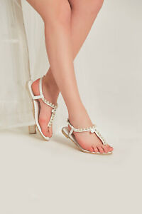 Women Pearl Summer Beach Wedding Shoes Flip Flops Rhinestone Flat Sandals Dressy