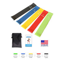 5Pcs Resistance Exercise Loop Bands Fitness Yoga Gym Training With Carry Bag