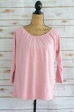 NWT Gap Maternity - Pink elastic neckline 3/4 sleeve COTTON blend tee shirt, XS