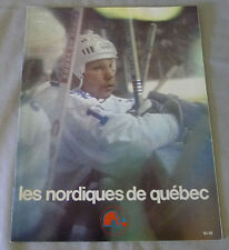 1977-78 WHA Quebec Nordiques vs New England Whalers Hockey Program  # 3