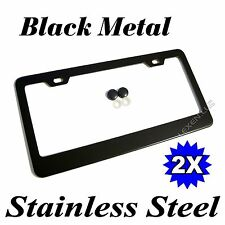 2PCS BLACK STAINLESS STEEL METAL LICENSE PLATE FRAME TAG COVER SCREW CAPS /BF-2