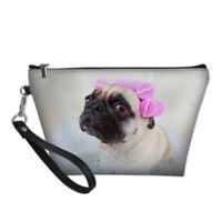 Cute Pug Cosmetic Bag Makeup Case Organizer Travel Storage Hanging Purse