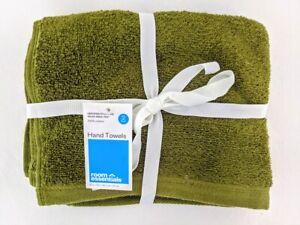 2pk Hand Towel Set Green - Room Essentials