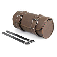 Motorcycle Racing ATV Brown PU Leather Roll Tool Bag Luggage Saddlebag Storage