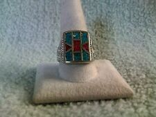 70's Design Turquoise & Red Coral Mens Ring