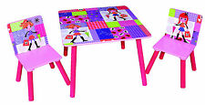 Girls Pink Wooden Table and 2 Chair Set Kids Toddlers Children NEW Gift Toy Play