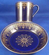 Superb Sevres French Cobalt Blue & Gold Porcelain Cup & Saucer Porzellan Tasse