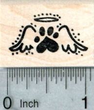 Heart Paw Print Rubber Stamp, Tiny Pet Loss Angel Wings A32712 WM