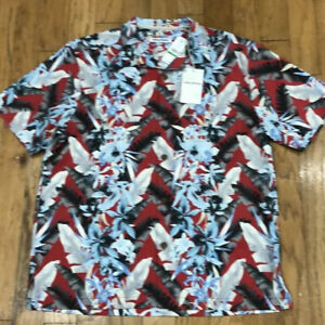 "Tommy Bahama ""Da Vinci Vines"" Red Hawaiian S/S Silk Blend Camp Shirt Size L NEW"