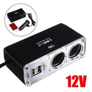 5V/1A Double USB Port 2 Way Auto Car Cigarette Lighter Charger Socket Plug 12V
