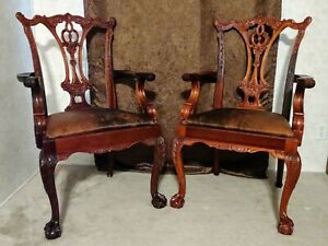 Pair of Vintage Mahogany Chippendale arm chairs