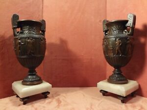 Great Pair Of Patinated Bronze Over Spelter Greek Urns On White Marble Bases Cir