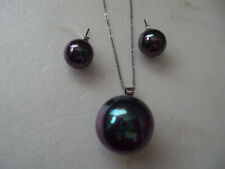 """Tahitian color shell pearl 18mm sterling silver necklace 20"""" matching ear DAD614"""