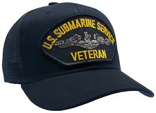Us Navy Submarine Service Veteran Hat Dark Blue Trucker Ball Cap Mesh Back Style