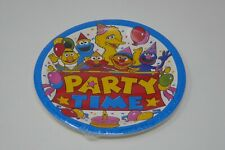 """Sesame Street Party Time 9"""" Plastic Coated Party Plates (Package of 8) SEALED"""