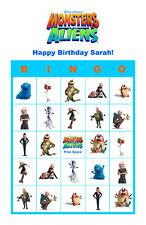 Monsters vs. Aliens Birthday Party Game Bingo Cards