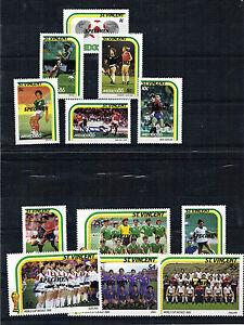 St VINCENT 1986 MEXICO FOOTBALL WORLD CUP SET OF ALL 12 SPECIMEN OVERPRINTS MNH
