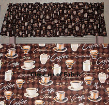 New Coffee Expresso Java Cappuccino Latte Shop Curtains Window Cover Valance